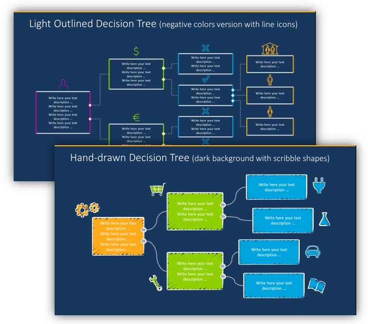 decision tree outline dark version ppt