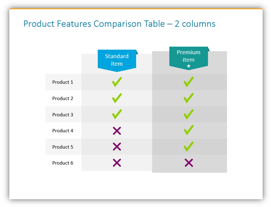 comparison table template ppt