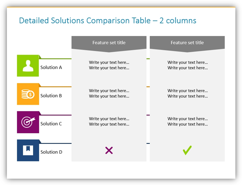 comparison table compare solutions powerpoint