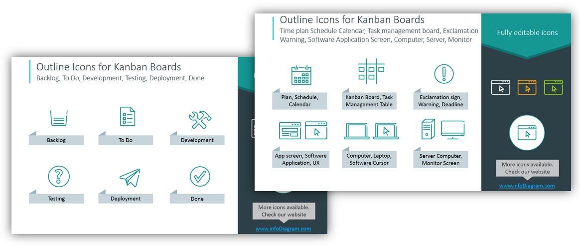 kanban boards outline symbols powerpoint