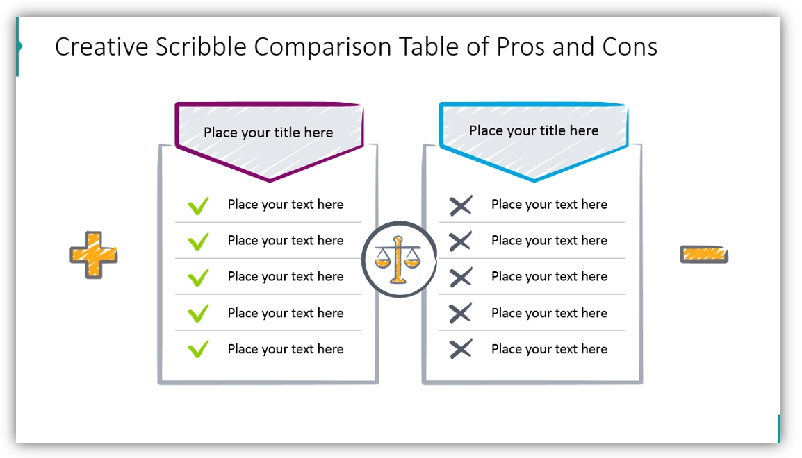 pros and cons creative comparison table ppt