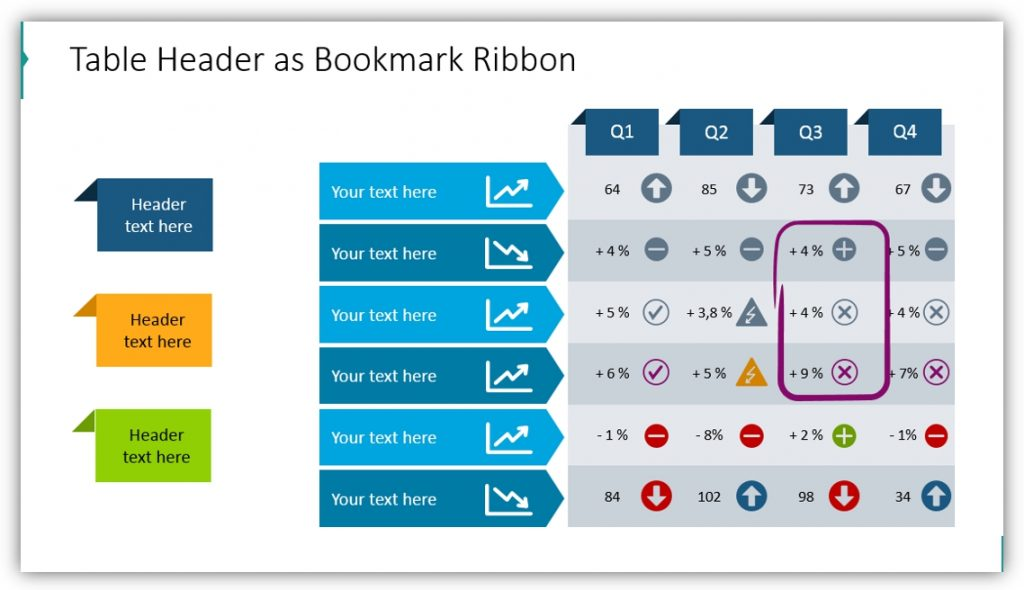 data table template bookmark ribbon header