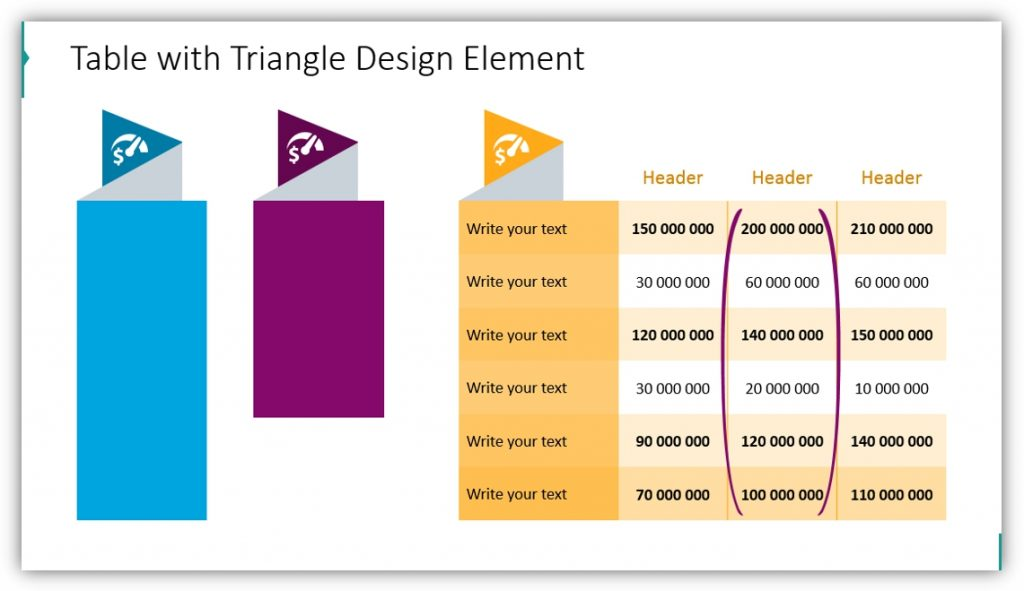 data table template graphics powerpoint