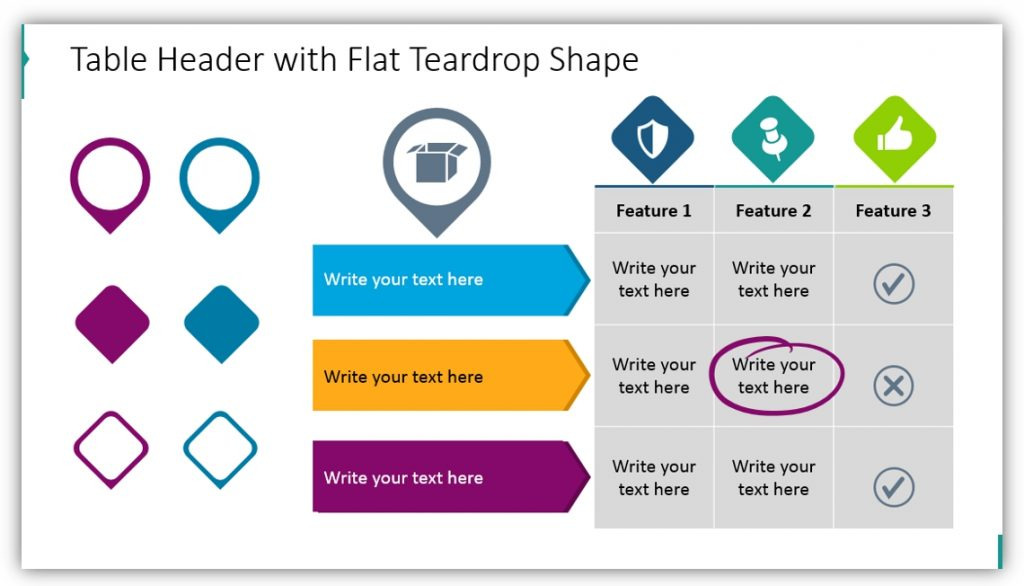 data table template teardrop shape ppt
