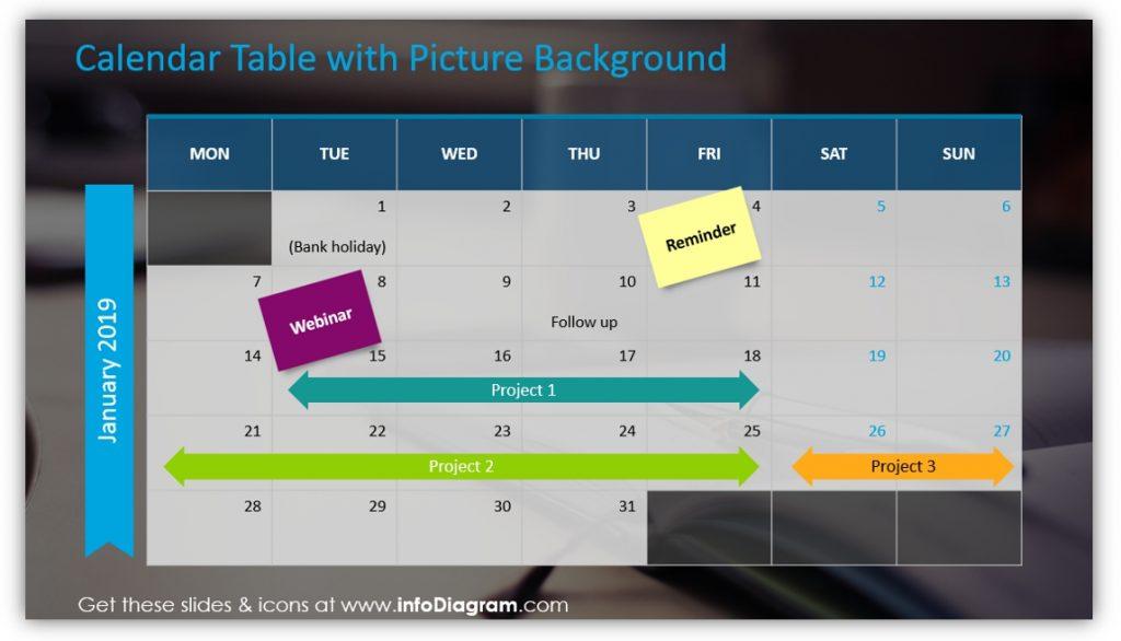 data table template calendar powerpoint