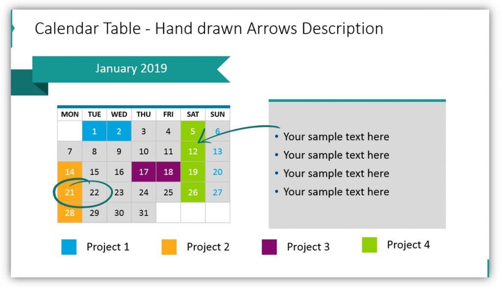 data table template creative calendar ppt