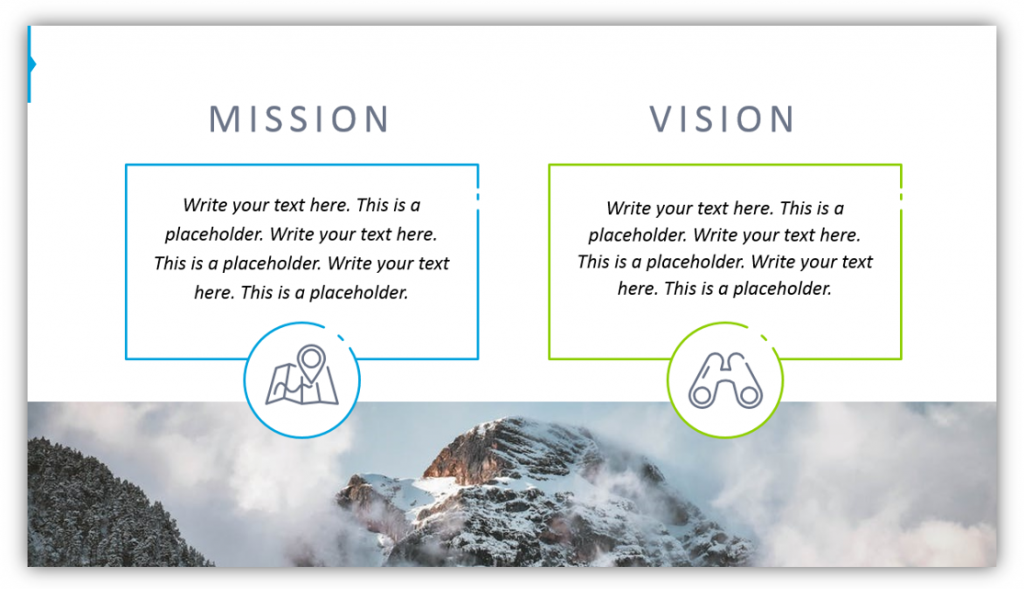marketing strategy Mission Vision Declarations template slide