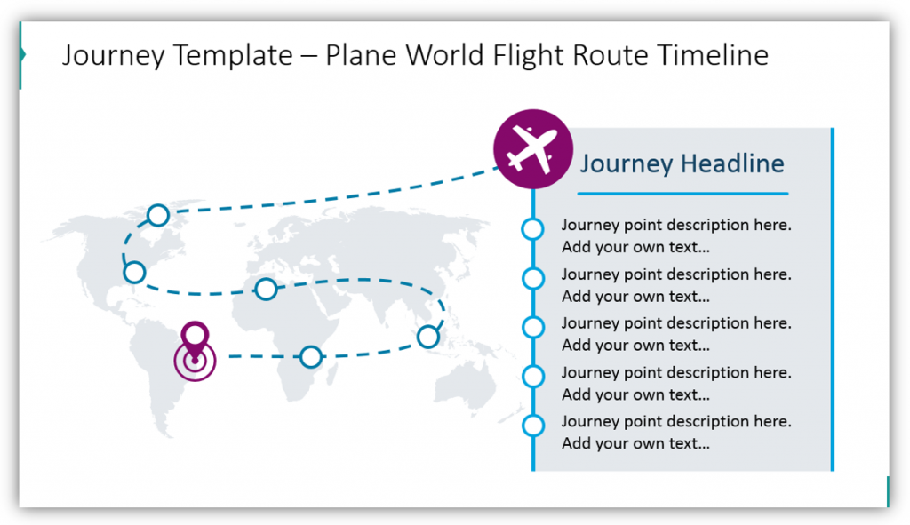 timeline graphics journey template plane world map ppt