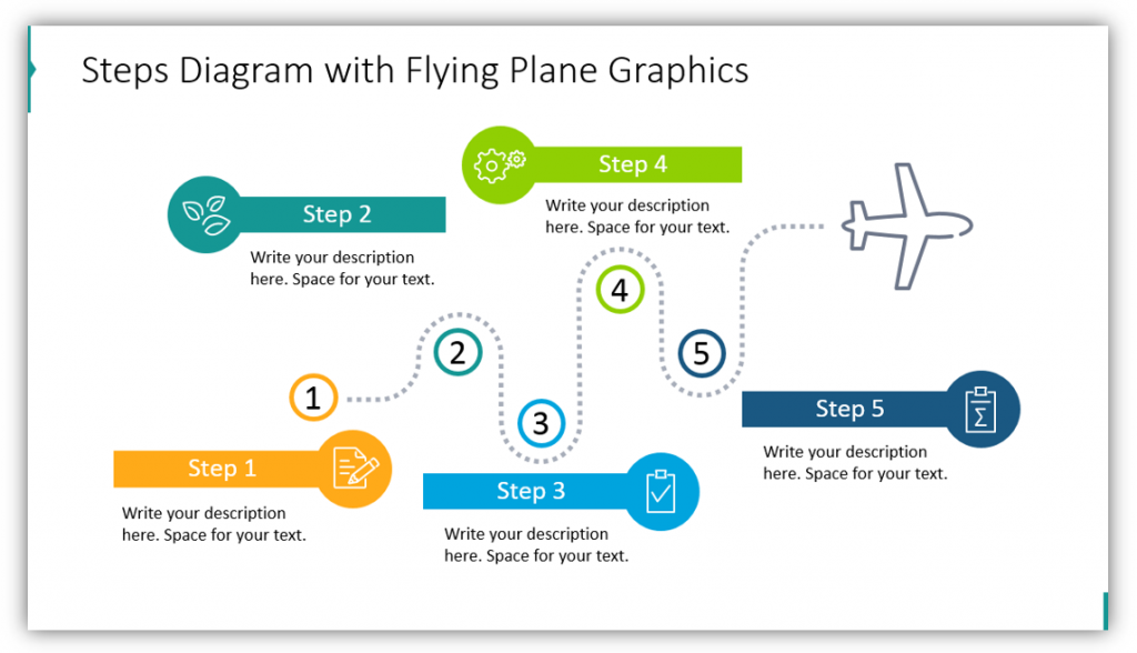 timeline graphics Steps Diagram with Flying Plane Graphics