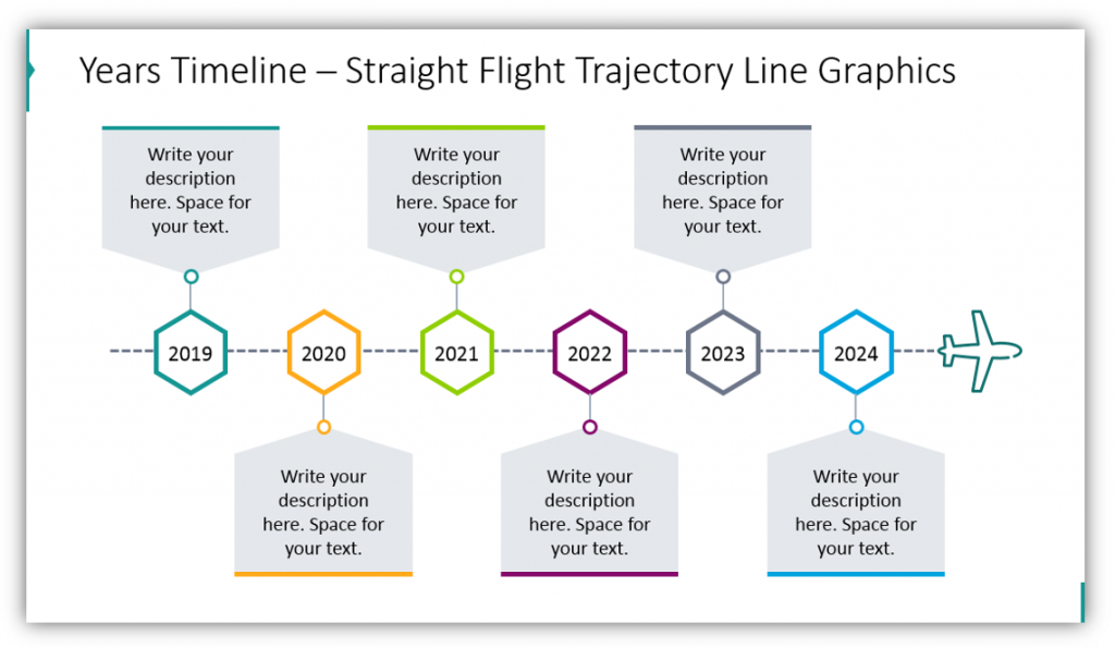 yearly timeline graphics Straight Flight Trajectory