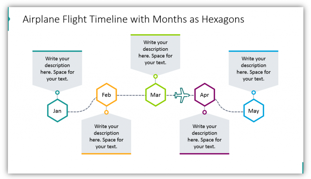 Airplane Flight timeline graphics ppt