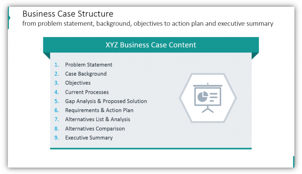 business case structure agenda ppt