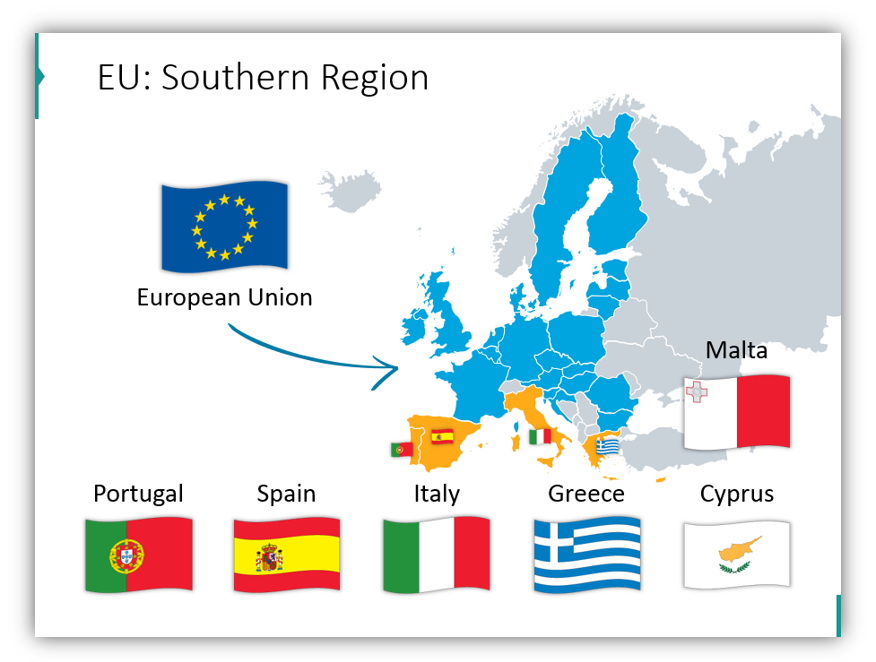 EU statistics Southern Region of Europe ppt map
