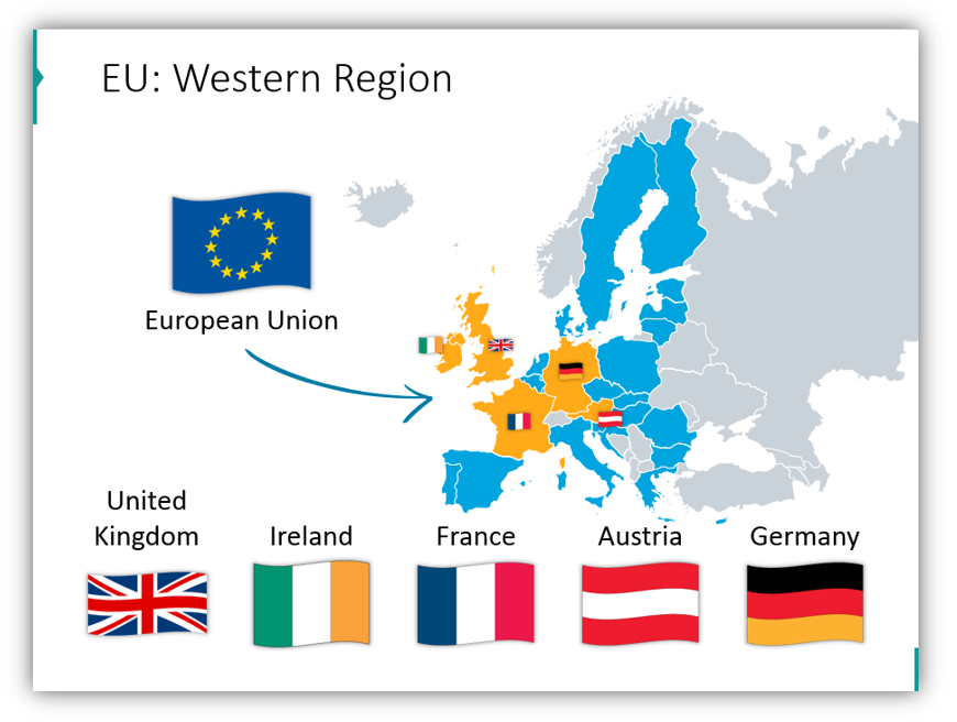 EU statistics Western Region map for powerpoint