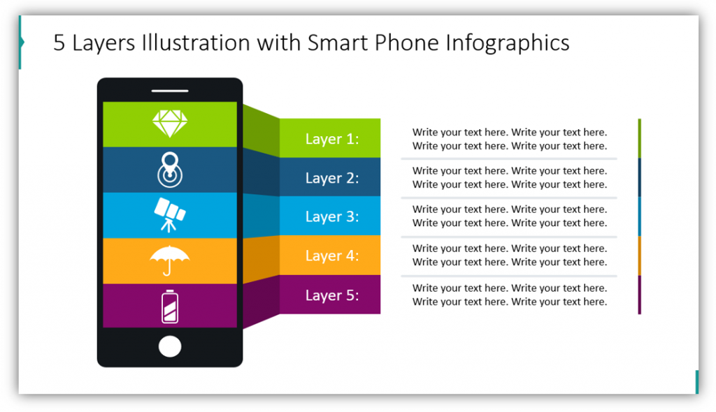 5 Layers Illustration with Smart Phone Infographics layers graphics