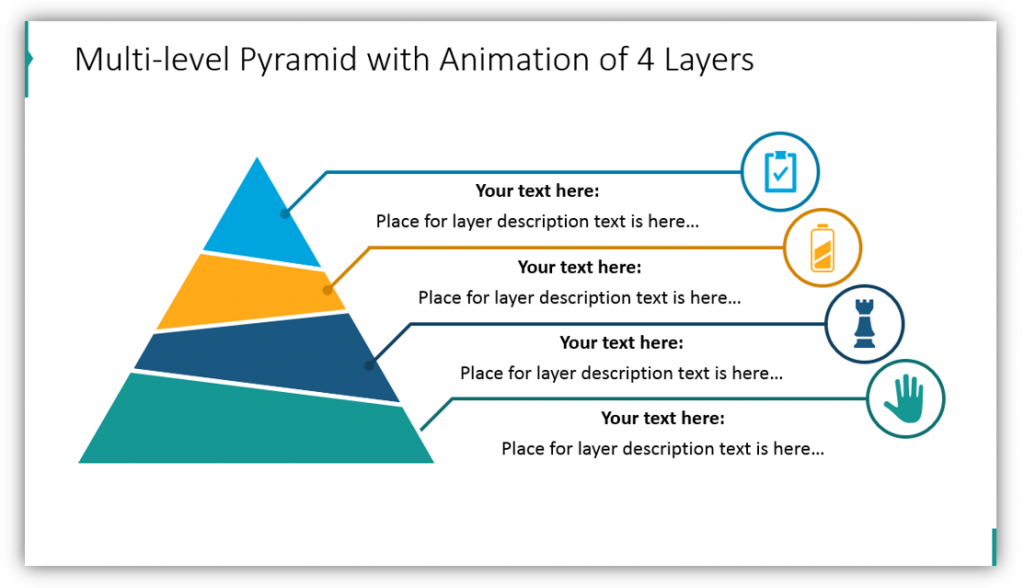 layers graphics Multi-level Pyramid with Animation of 4 Layers ppt