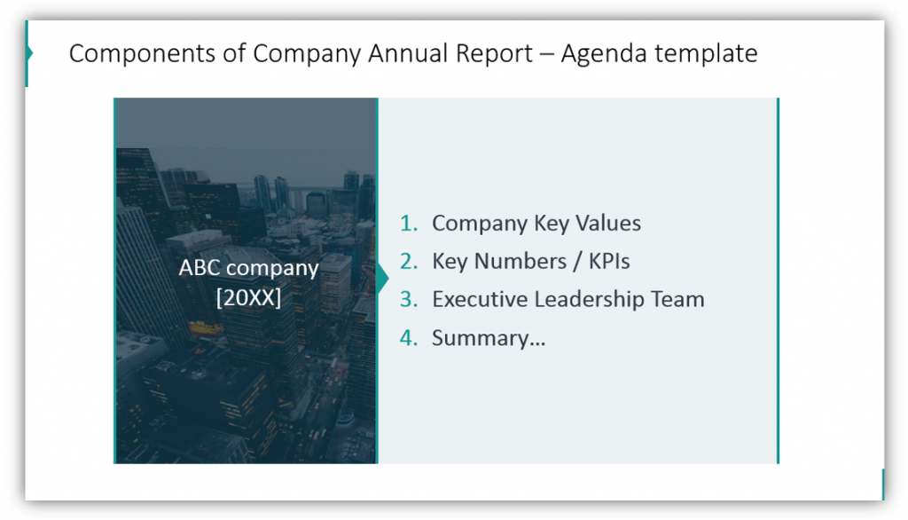stock report Components of Company Annual Report – Agenda template