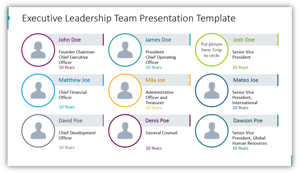 stock report Executive Leadership Team Presentation Template