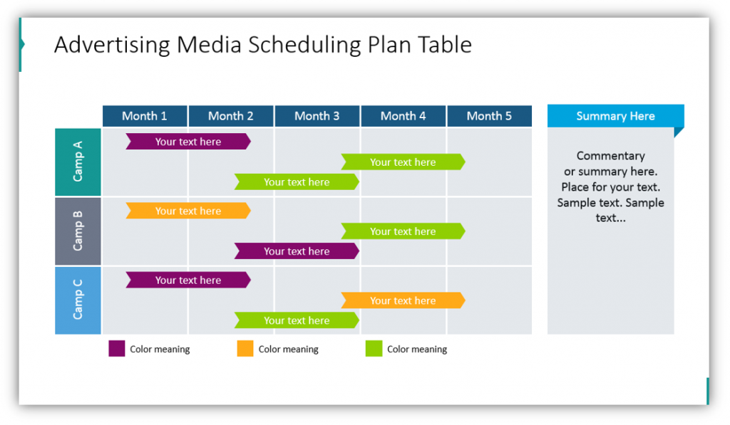 Advertising Scheduling Plan Table media planning ppt