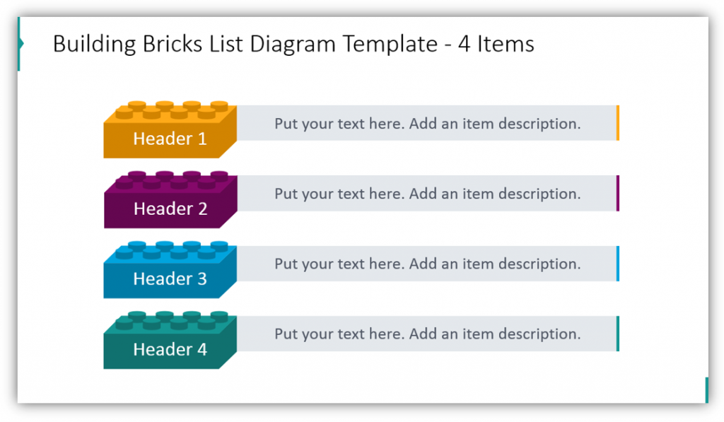 Building Brick graphics List Diagram Template - 4 Items