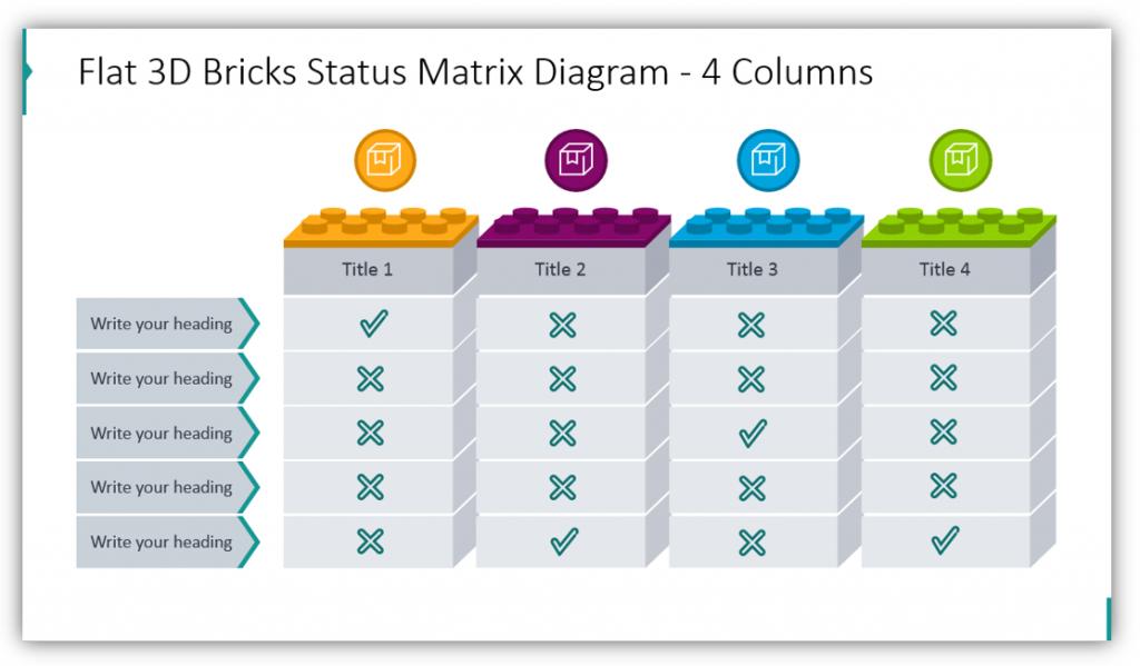 Flat 3D Bricks Status Matrix Diagram - 4 Columns