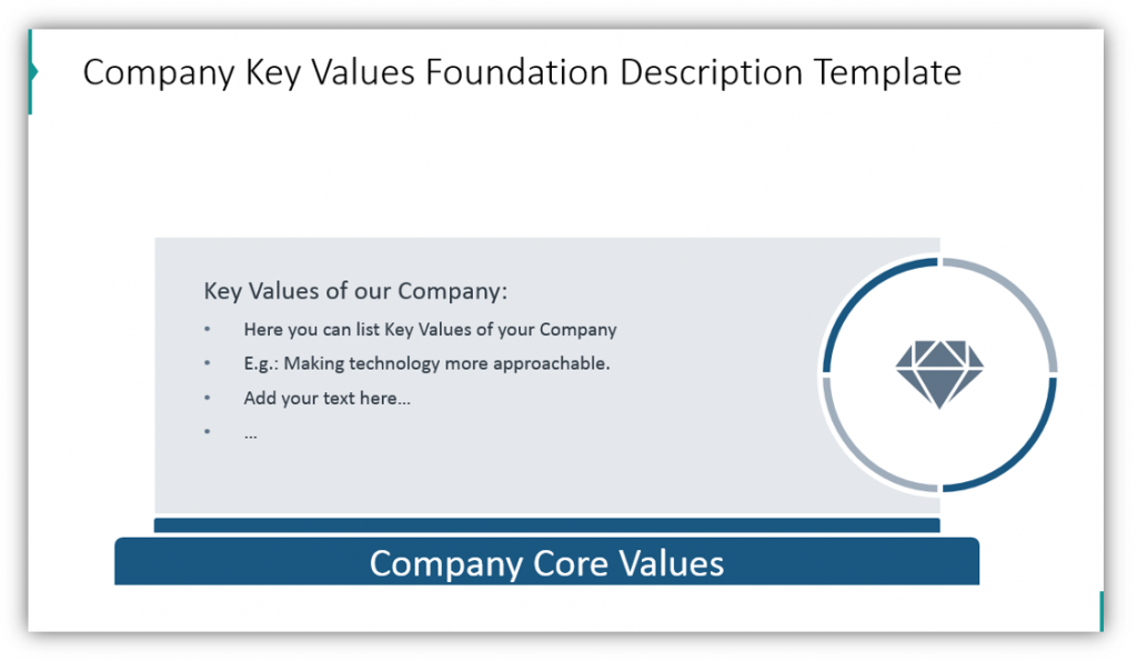 Company Key Values Foundation Description Template pillar graphics