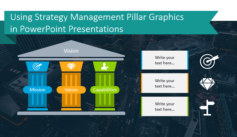Strategy Management Pillar Graphics ppt slides