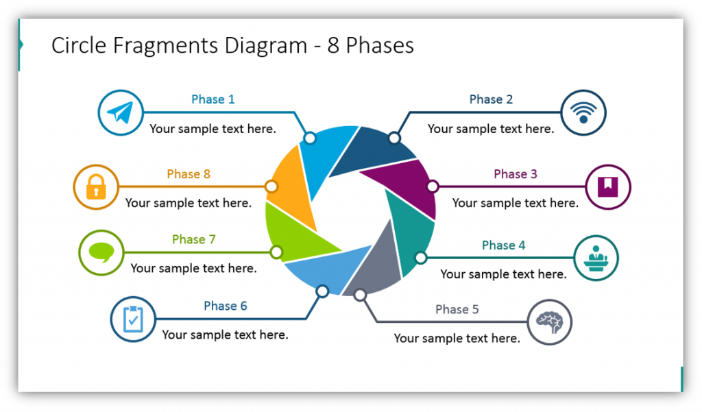 shutter and circle graphics Circle Fragments Diagram - 8 Phases