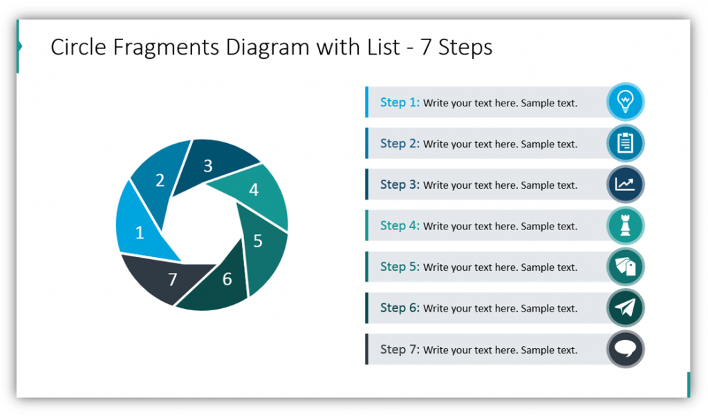 Circle Fragments Diagram with List - 7 Steps shutter and circle graphics
