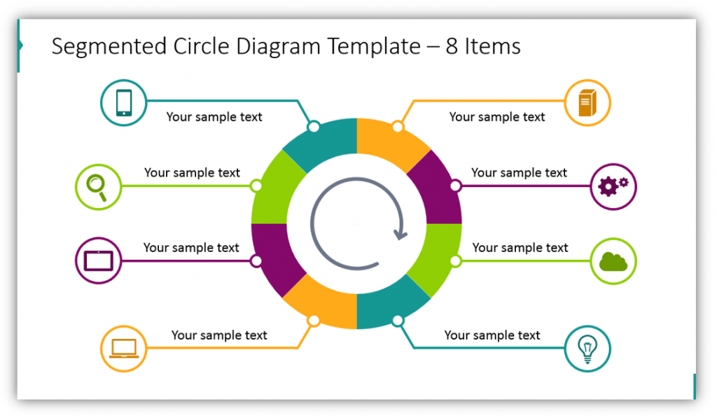 Segmented Circle Diagram Template – 8 Items