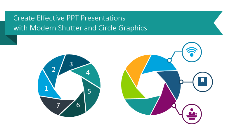 shutter and circle graphics PowerPoint slides