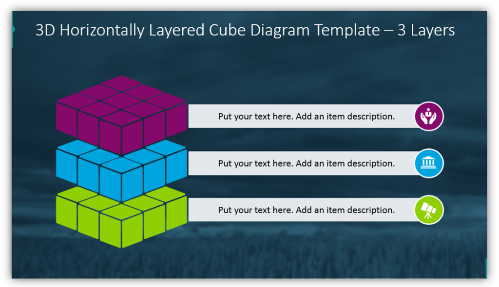 3D Horizontally Layered Cube Diagram Template – 3 Layers