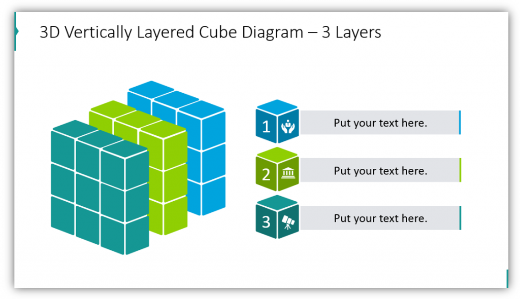3D Vertically Layered Cube Diagram – 3 Layers