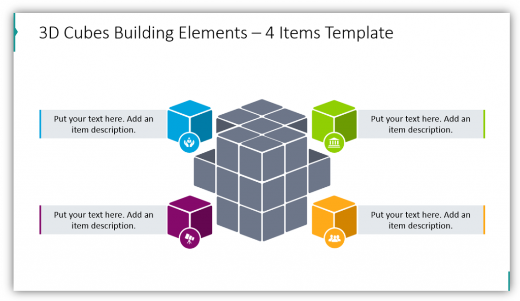 3D Cubes Building Elements – 4 Items Template