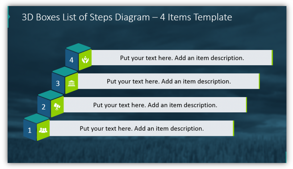 3D Boxes List of Steps Diagram – 4 Items Template