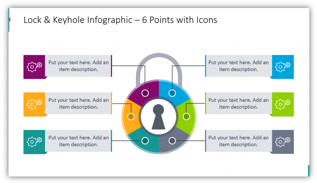 Lock and Keyhole Infographic – 6 Points with Icons