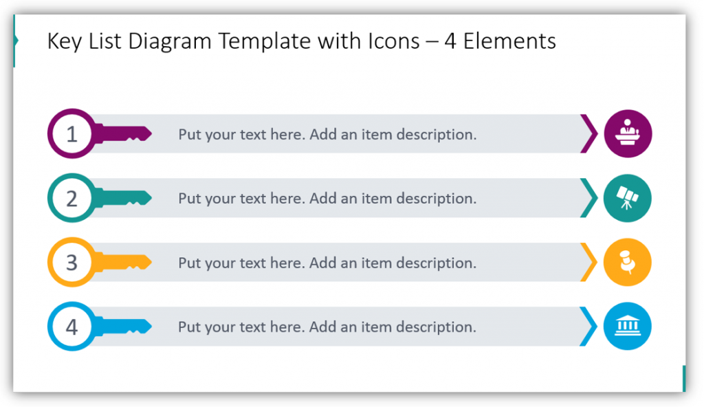 Key List Diagram Template with Icons – 4 Elements