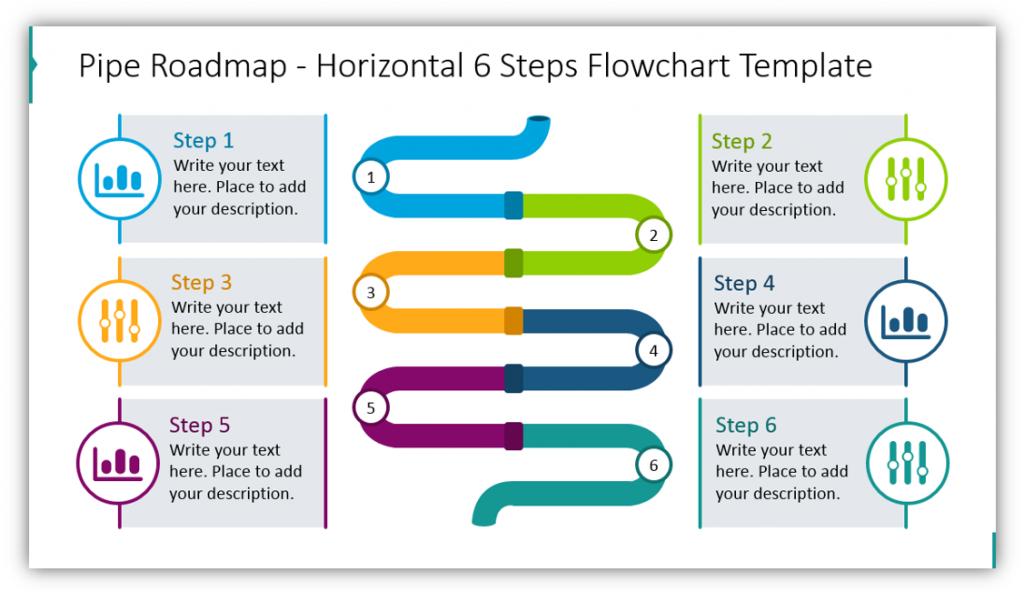 Pipe Roadmap Horizontal 6 Steps Flowchart Template