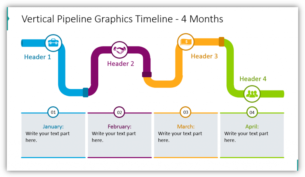 Vertical Pipeline Graphics Timeline  4 Months
