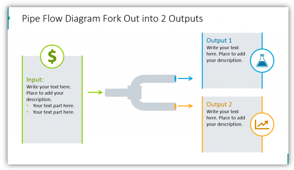 Pipe shape Flow Diagram Fork Out into 2 Outputs