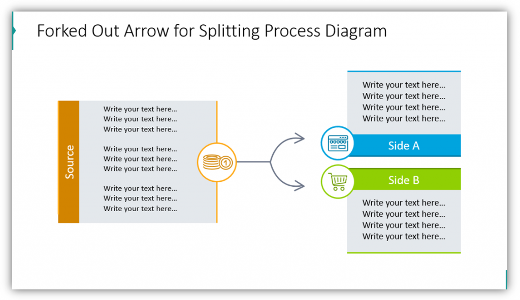 Forked Out Arrow for Splitting Process Diagram