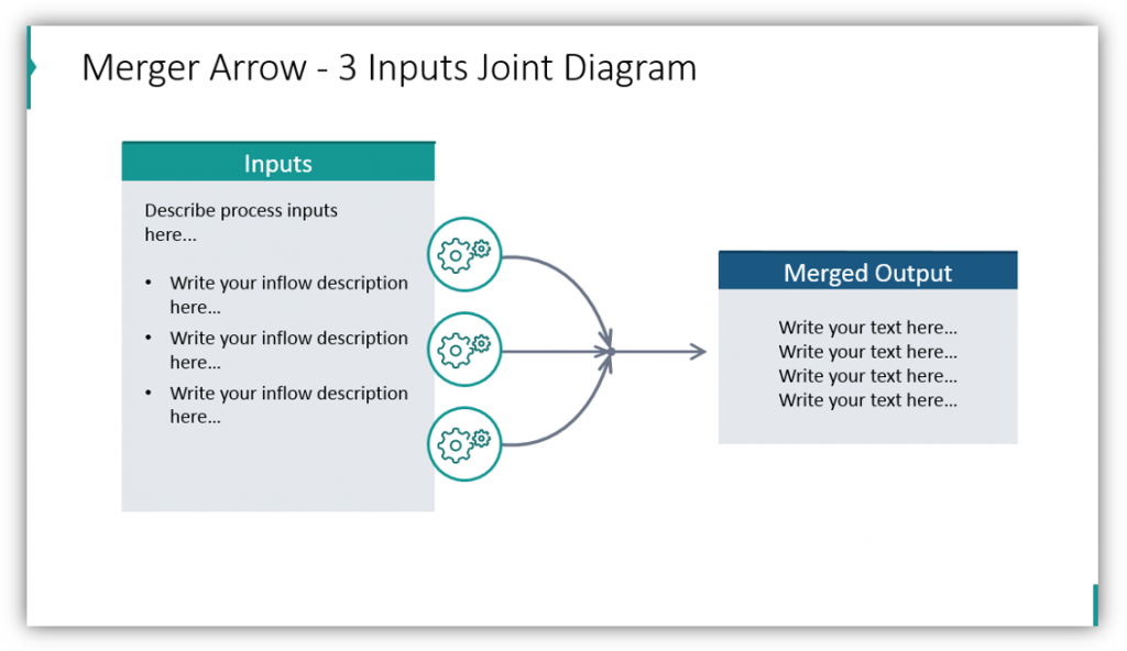 Merger Arrow - 3 Inputs Joint Diagram branching arrow