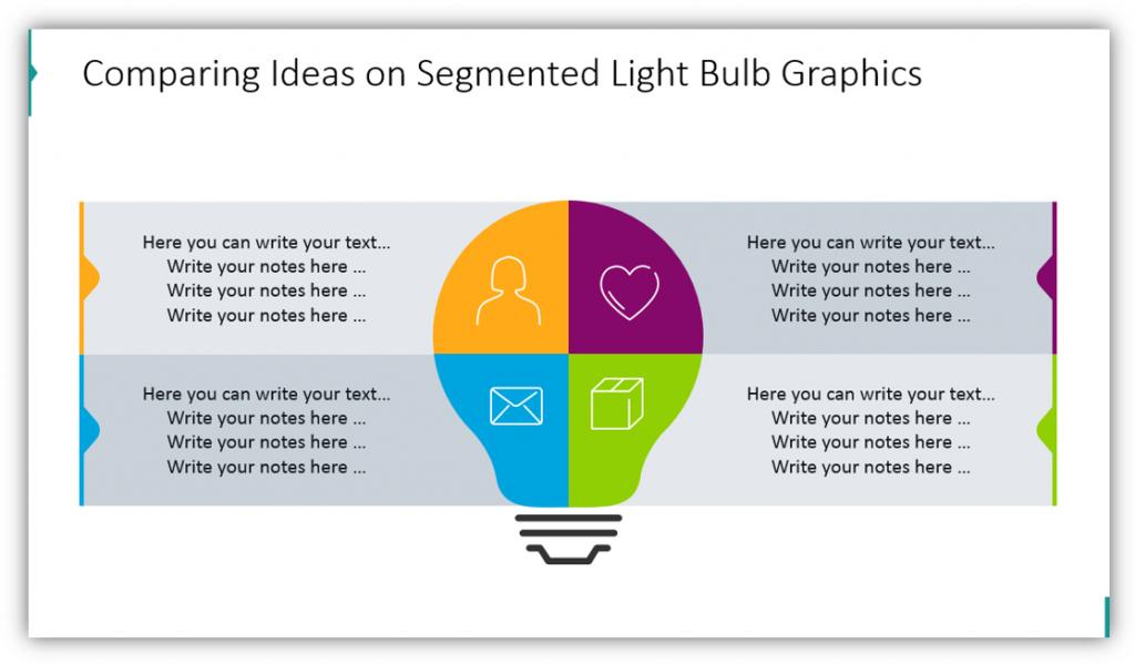Comparing Ideas on Segmented Light Bulb Graphics