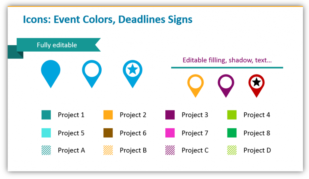 Special Dates, event colors and Deadlines ppt signs