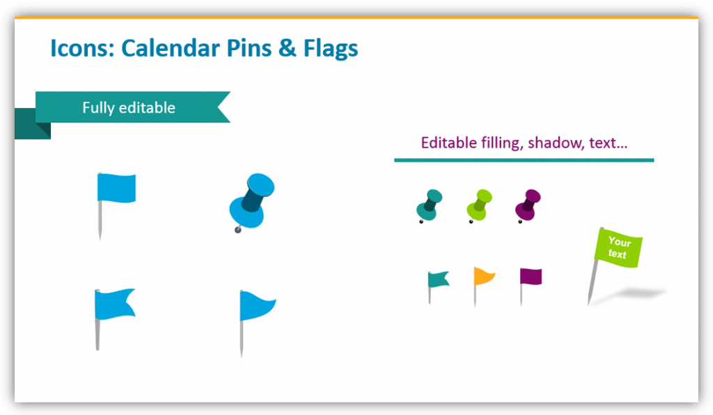 calendar icons, flags for ppt
