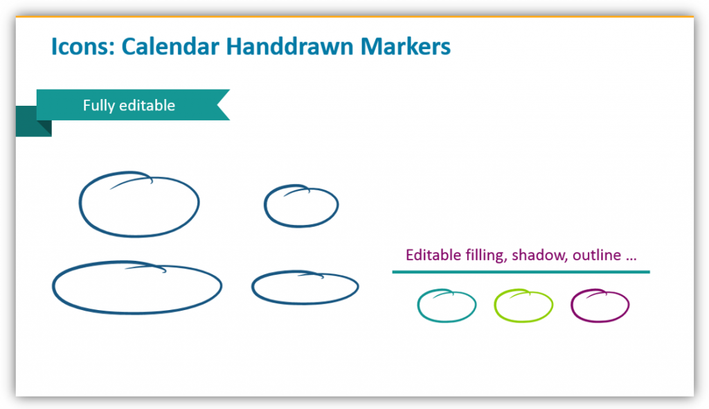 Hand-drawn Markers for powerpoint calendar graphics
