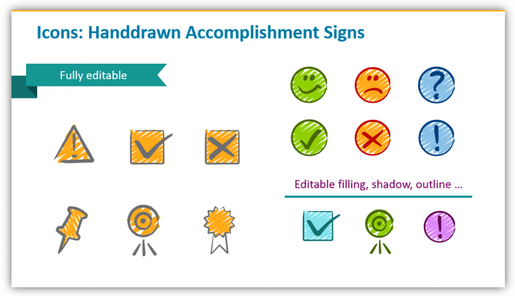 With Hand-drawn Accomplishment Signs for calendar graphics