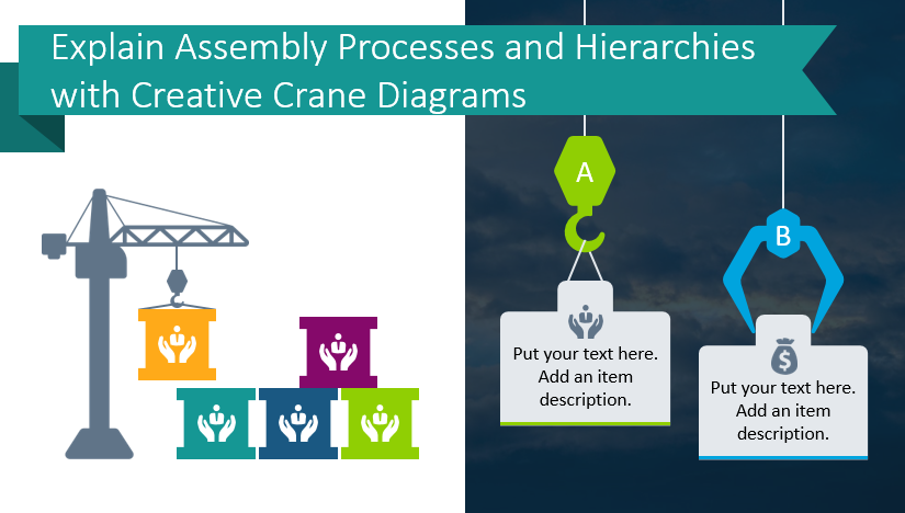 Explain Assembly Processes and Hierarchies with Creative Crane Graphics and Diagrams