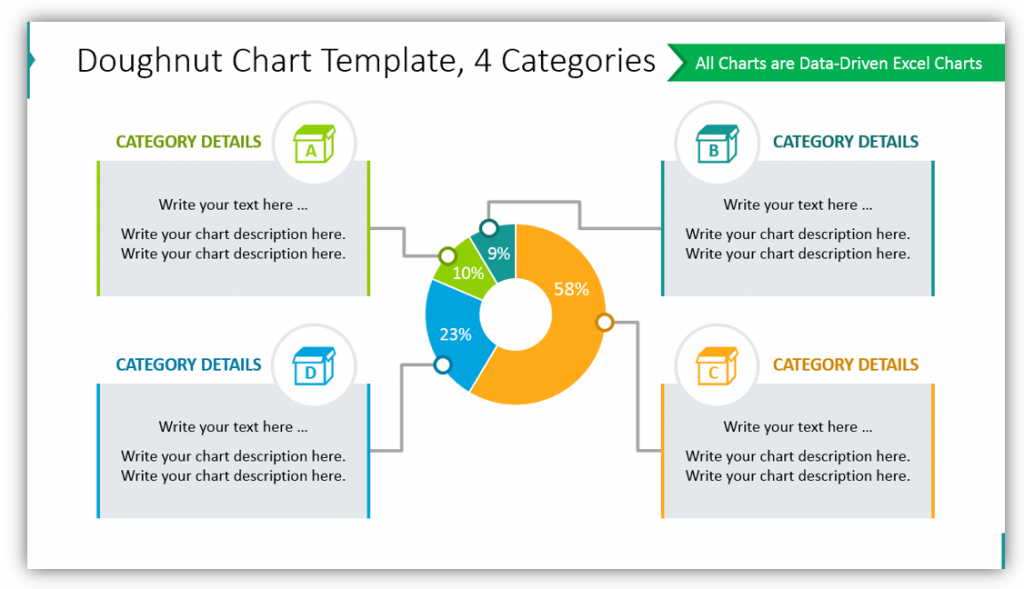 Doughnut Chart Template, 4 Categories