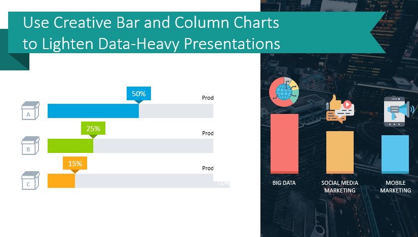 Use Creative Bar and Column Chart Templates to Lighten Data-Heavy Presentations